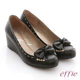 【effie】立體幾何 全真皮抓皺縫線蝴蝶楔型鞋(黑)