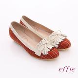 【effie】學院風潮 格紋拼接流蘇楔型跟鞋(紅)