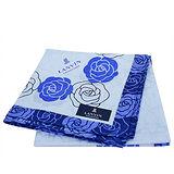 LANVIN 玫瑰圖騰大款方型帕領巾(藍紫色)