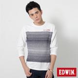 EDWIN 中段反面條剪接長袖T恤-男-白色