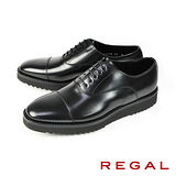【REGAL】橫飾牛津厚底皮鞋 黑色(W34B-BL)