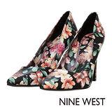 NINE WEST--質感俐落設計尖頭高跟鞋--百花黑