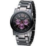 Hanna 巴黎時尚全日曆黑陶瓷腕錶-紫紅小錶盤