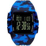 adidas 勁戰狙擊大面板電子腕錶-藍x迷彩藍x大