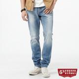 5th STREET 粗線調小直筒牛仔褲-男-拔洗藍