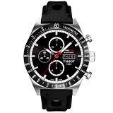 TISSOT PRS516 Valjoux 經典之作賽車款計時機械錶(黑/皮錶帶-T0446142605100)