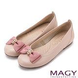 MAGY 甜美混搭新風貌 真皮鑽飾織帶蝴蝶結平底鞋-粉紅