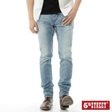 5th STREET 粗線調直筒牛仔褲-男-拔淺藍