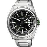 CITIZEN Eco-Drive 光動能空間飆速時尚腕錶-黑/43mm AW0020-59E