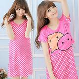 Wonderland ST724 甜蜜傳情牛奶絲罩衫洋裝2件組(桃紅)