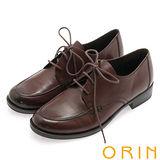 ORIN 懷舊復古學院風 雙色蠟感牛皮粗跟鞋-咖啡