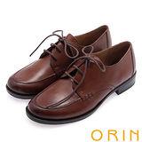 ORIN 懷舊復古學院風 雙色蠟感牛皮粗跟鞋-棕色