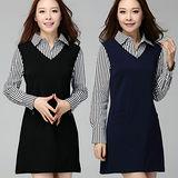 【麗質達人 中大碼】Q3868假二件式條紋洋裝(XL-4XL)