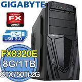 技嘉760平台【戰爭旗幟】AMD FX八核 GTX750Ti-2G獨顯 1TB燒錄電腦