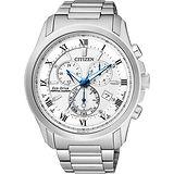 CITIZEN 亞洲限量光動能萬年曆腕錶-白x銀/43mm BL5540-53A
