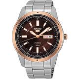 SEIKO 盾牌榮耀5號21石機械腕錶-咖啡x玫瑰金框/43mm 7S26-04A0K(SNKN68J1)