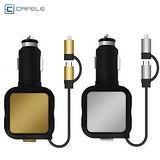 【卡斐樂】4.8A 雙USB車充 帶二合一伸縮傳輸線 Apple 8pin+Micro USB 車上充電器