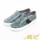 MK-台灣製全真皮-時尚蛇紋厚底懶人休閒鞋-藍色