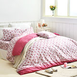 美夢元素 台灣製天鵝絨 花季香意 雙人四件式床包被套組
