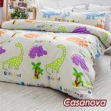 Casanova《恐龍世界》天鵝絨雙人四件式被套床包組(5尺)