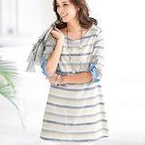 日本Portcros 預購-配色折邊袖棉麻條紋長版上衣(共四色)
