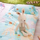 OLIVIA 肯亞冒險 綠 100%精梳純棉 舖棉兩用加大型兒童睡袋