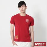 5th STREET 後染繡花短袖T恤-男-紅色