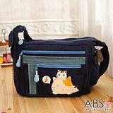 ABS貝斯貓 可愛音符貓咪拼布包 斜肩背包 側背包(海洋藍)88-175