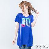 【Betty Boop貝蒂】貼鑽膠印Betty傘狀剪裁長版上衣(共二色)