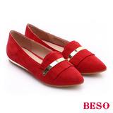 【BESO】 時尚核心 絨面羊皮流蘇平底鞋(紅)