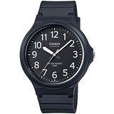 CASIO 時尚玩色輕薄魅力大表面腕錶(黑x白刻) MW-240-1B