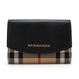 BURBERRY 經典格紋皮革扣式名片夾-黑色
