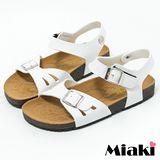 【Miaki】MIT 涼鞋首爾時尚平底休閒拖鞋 (白色)