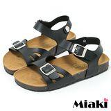 【Miaki】MIT 涼鞋首爾時尚平底休閒拖鞋 (黑色)