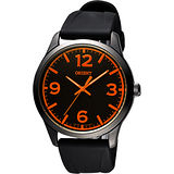 ORIENT 東方錶 SPORTS系列運動石英錶-黑x橘時標/43mm FQC0U007B