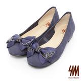 SM-台灣製全真皮-蝴蝶結鉚釘方跟娃娃鞋-紫色