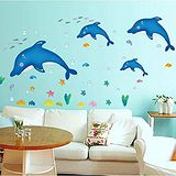 窩自在 DIY無痕創意牆貼/壁貼-藍色小海豚 AY6044 (60X45)