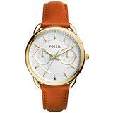 FOSSIL 精緻時尚日期腕錶-玫瑰金x深膚色皮帶