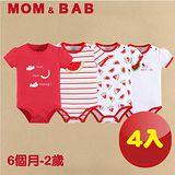 (購物車)【MOM AND BAB】甜美西瓜短袖肩扣包屁衣(禮盒四件組)(6M-24M)