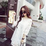【C.R.】白色蕾絲鏤空連衣裙
