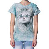 【摩達客】(預購)美國進口The Mountain  藍眼小貓 短袖女長版T恤精梳棉環保染