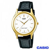 CASIO卡西歐 簡潔金系風格皮帶男錶-白 MTP-1093Q-7A