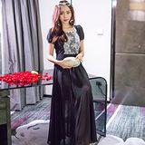 【KVOLL中大尺碼】黑色蕾絲雪紡拼接連身長裙