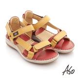 【A.S.O】頂級氣墊 全真皮雙魔鬼氈奈米鞋墊涼鞋(黃)