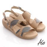 【A.S.O】憶型氣墊 全真皮雙色拼接飾扣奈米鞋墊涼鞋(卡其)