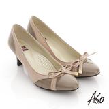 【A.S.O】舒活系列 全真皮拼接蝴蝶結跟鞋(米)