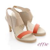 【effie】分子點心 全真皮立體壓紋拼色高跟涼鞋(卡其)