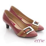 【effie】街頭玩味 全真皮鏡面配色金屬飾釦跟鞋(藕粉)