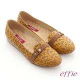 【effie】活力勁步 全牛皮豹紋奈米鞋墊窩心平底鞋(黃)