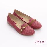 【effie】活力勁步 全牛皮豹紋奈米鞋墊窩心平底鞋(桃粉紅)